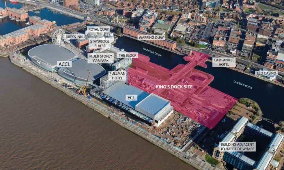 liverpool kings dock car park plans - ariel view